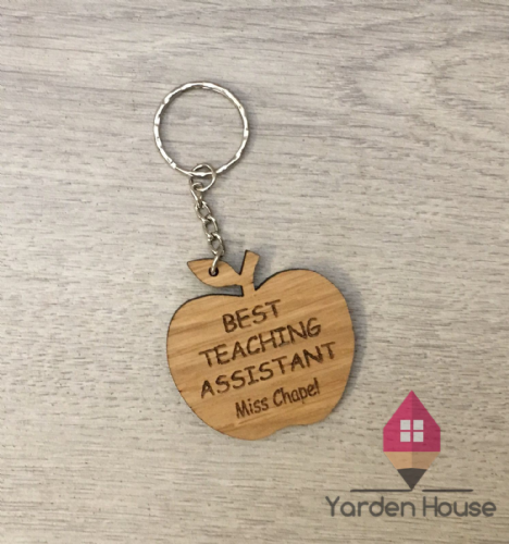 Teacher Apple Keyring, 'Best Teaching Assistant'